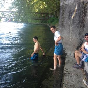 Cooling off in the river in Baden